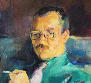 Arnulf Øverland malt av Torleif Holmboe